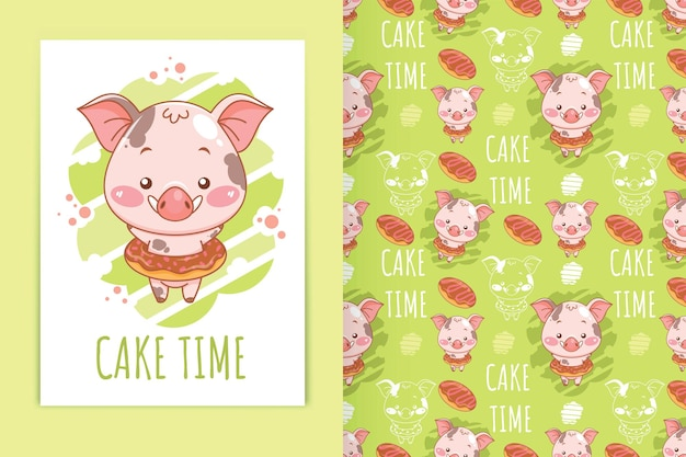 Cute baby pig with donuts cartoon illustration and seamless pattern set