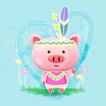 Cute baby pig with feather. vector