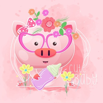 Cute baby pig with feeding bottle. vector