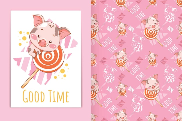 Cute baby pig with lollipop cartoon illustration and seamless pattern set