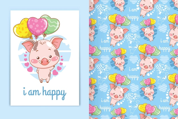 Cute baby pig with love balloon cartoon illustration and seamless pattern set
