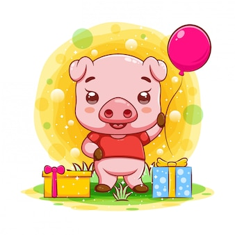 Cute baby pig with many gifts