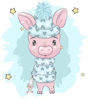 Cute baby piggy cartoon hand painted
