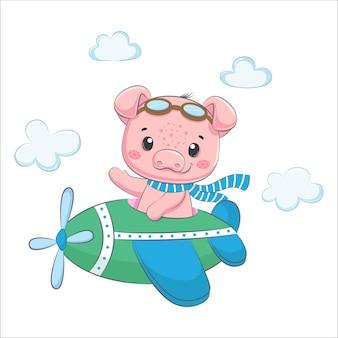 귀여운 아기 돼지가 비행기를 타고 날아가고 있습니다. 만화 벡터 일러스트 레이 션.