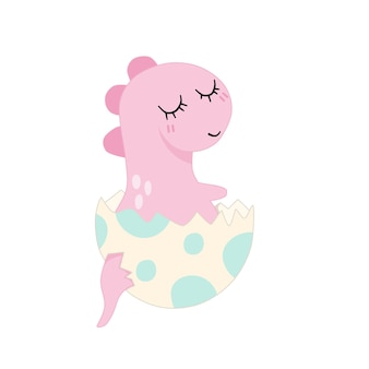 白い背景で隔離のひびの入った卵殻のかわいい赤ちゃんピンクの恐竜。最小限のフラット漫画イラスト。ベクター。