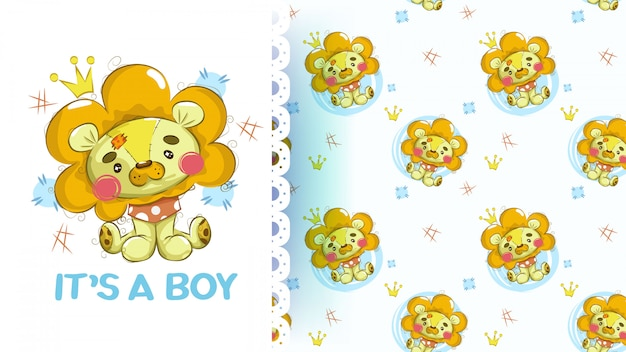 Cute baby plush lion with seamless pattern