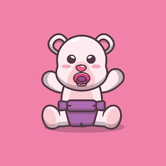 かわいい赤ちゃんホッキョクグマ漫画ベクトルイラスト