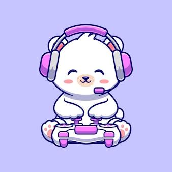 Cute baby polar bear gaming illustration