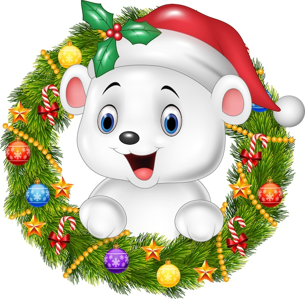 Cute baby polar bear holding christmas wreath