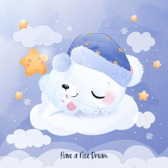 Cute baby polar bear sleeping illustration