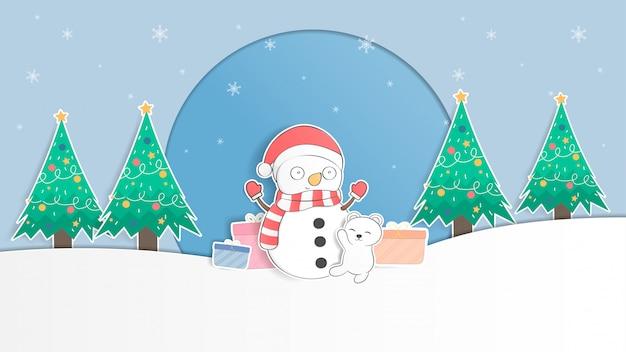 Cute baby polar bear and snowman pastel christmas illustration
