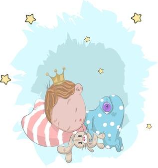 Симпатичный ребенок Принц с мультяшным кроликом