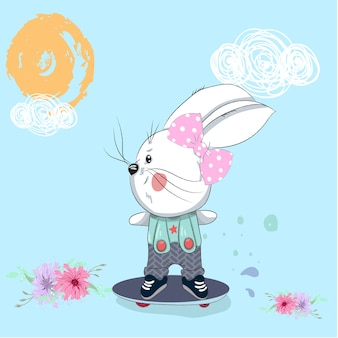 Cute baby rabbit athlete cartoon drawing