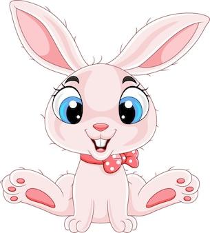 귀여운 아기 토끼 만화 앉아