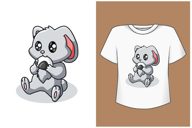 Милый ребенок кролик мультфильм футболка шаблон