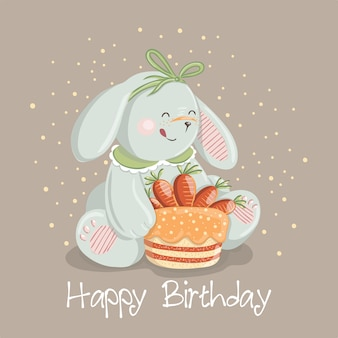 Cute baby rabbit character with carrot cake
