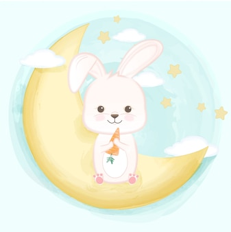 Cute baby rabbit on the crescent moon