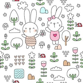 かわいい赤ちゃんのウサギは、シームレスなパターンを