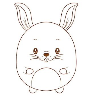 着色のためのかわいい赤ちゃんウサギの描画スケッチ