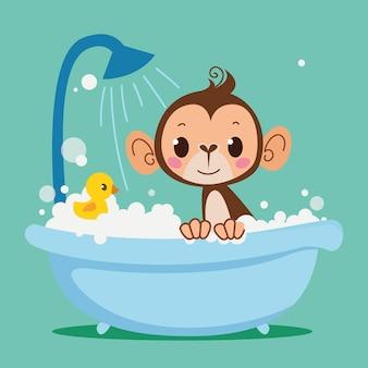 かわいい赤ちゃんうさぎは浴槽で入浴しています子供のためのベクトル印刷子供たちの漫画のキャラクター