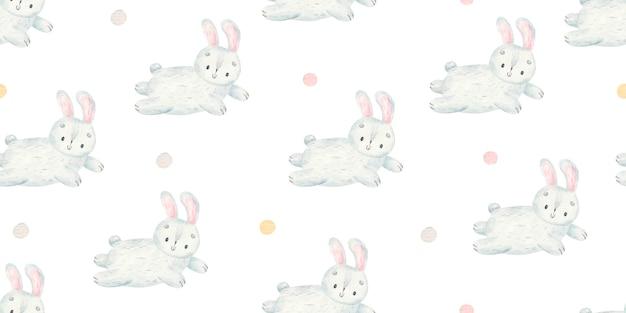 수채화 디자인으로 귀여운 아기 토끼 패턴