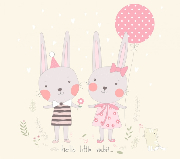 The cute baby rabbit sweetheart with balloon cartoon