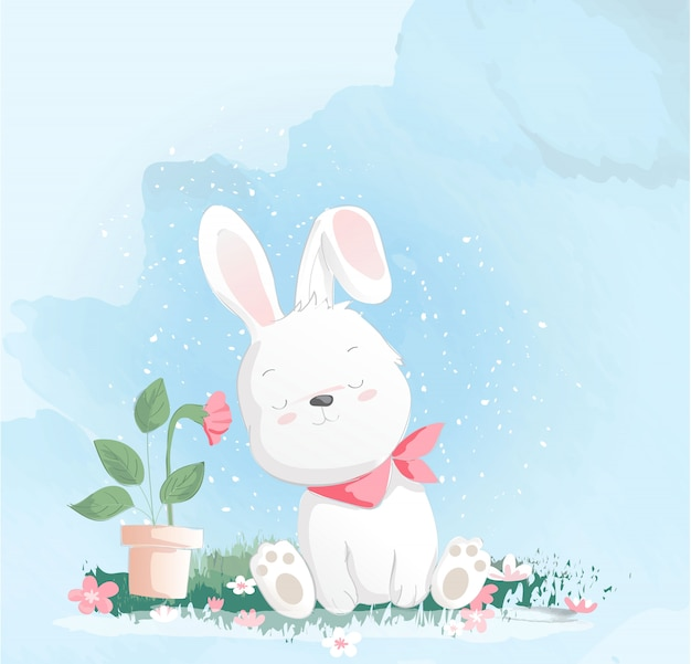 Cute baby rabbit watercolor style