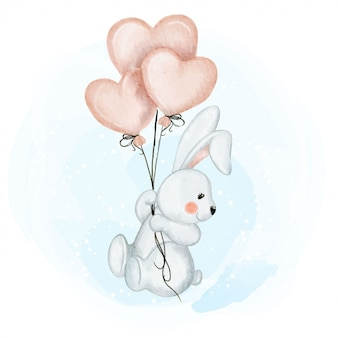 Cute baby rabbit with balloon love watercolor illustration