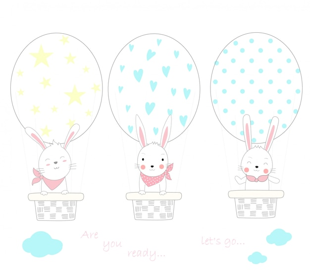 The cute baby rabbit with egg shape balloon air