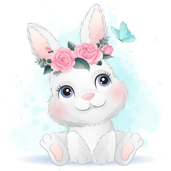 Cute baby rabbit with floral
