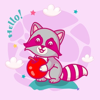 아이들을 위한 귀여운 아기 너구리 만화