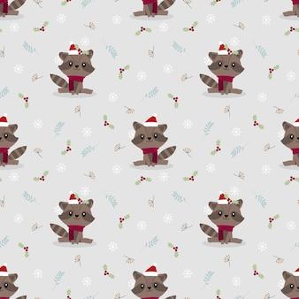 Cute baby raccoon in christmas season seamless pattern vector