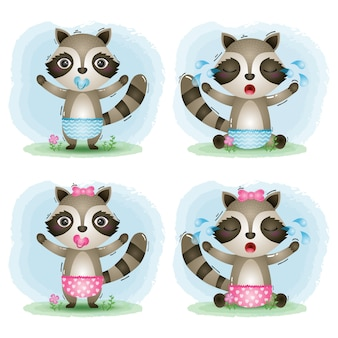 Cute baby raccoon collection in the children's style