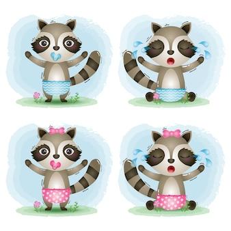 Коллекция милых малышек енотов в детском стиле