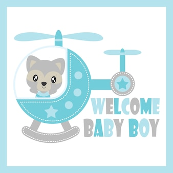 Cute baby raccoon flies with helicopter vector cartoon illustration for baby shower card design, postcard, and wallpaper