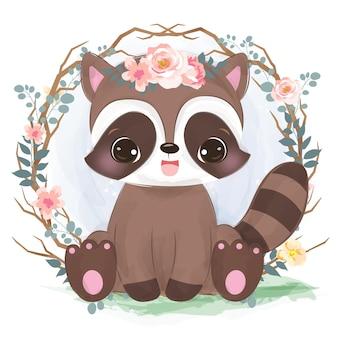 보육 장식 수채화 스타일의 귀여운 아기 너구리