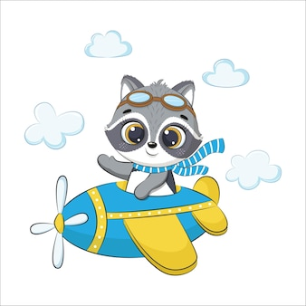 귀여운 아기 너구리가 비행기에서 날고 있습니다. 만화 벡터 일러스트 레이 션.
