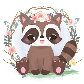 Cute baby raccoon in watercolor style for nursery decoration