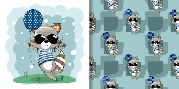 Cute baby raccoon with balloons illustration for kids