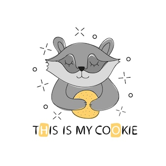 Cute baby raccoon with chip cookie. great for kids and children designs of clothes, apparel, toys, mobile games and web sites. isolated on white background