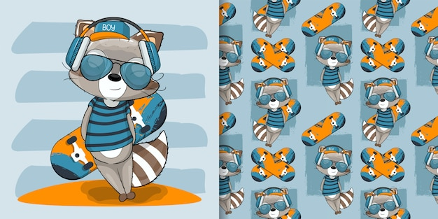 Cute baby raccoon with skateboard illustration for kids