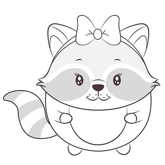 着色のためのかわいい赤ちゃんアライグマの描画スケッチ