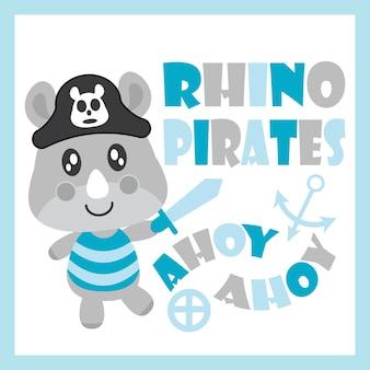 Симпатичный ребенок носорог, как иллюстрация мультфильма пиратов вектор для дизайна карты душа ребенка, дизайн майка майка, и обои
