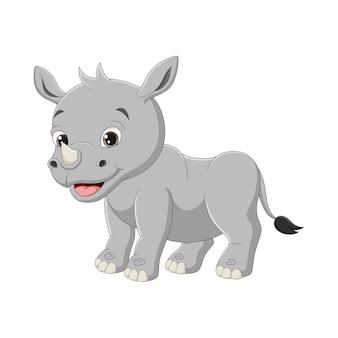 흰색 바탕에 귀여운 아기 코뿔소 만화