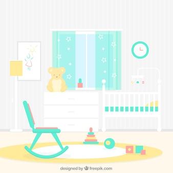 로커와 함께 귀여운 아기 방