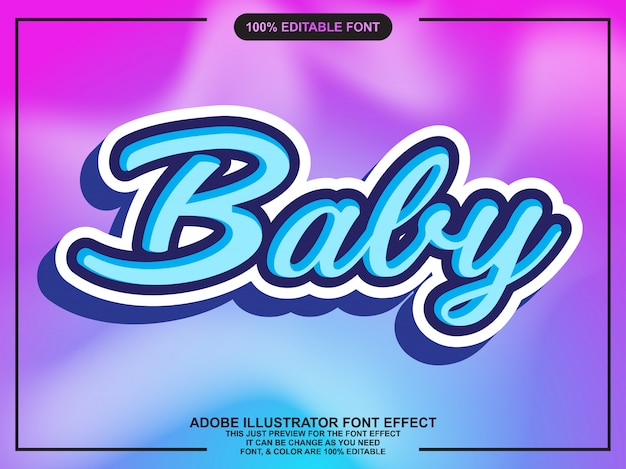 Cute baby script with font effect