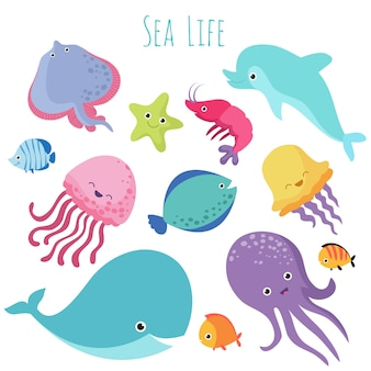 Cute baby sea fishes. cartoon underwater animals collection