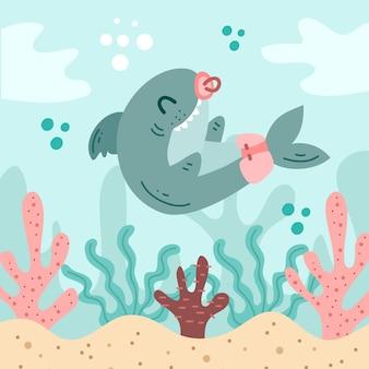 Cute baby shark in flat design