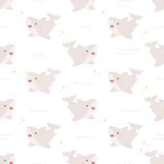 Cute baby shark seamless  repeating pattern, wallpaper background, cute seamless pattern background