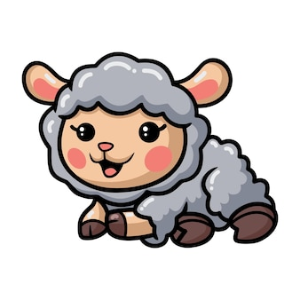 Cute baby sheep cartoon laying down